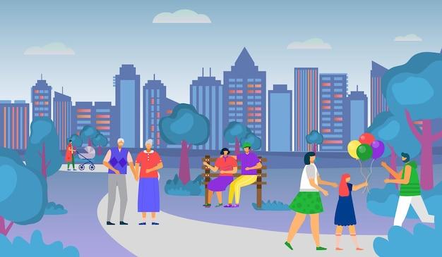 Parkn sie die natur für outdoor-aktivitäten, vektorillustration. alter mann frau charakter spaziergang im stadtpark, glückliches junges paar sitzen an der bank. flache muttertochter halten ballons an der stadtlandschaft.