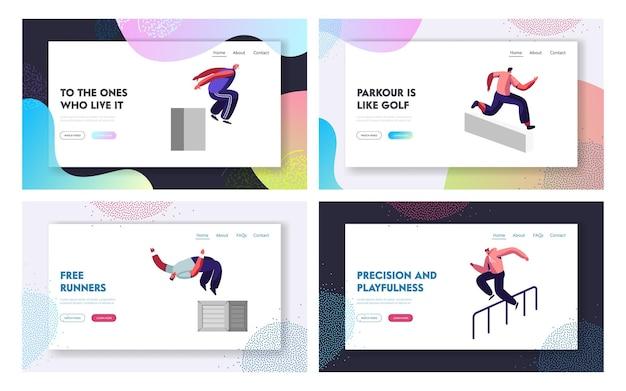 Parkour in city website landing page set.