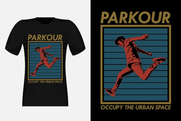 Parkour occupy the urban space silhouette vintage t-shirt design