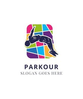 Parkour-sportler-sprungzeichen freilaufendes jugendsport- und lifestyle-konzept vector illustration