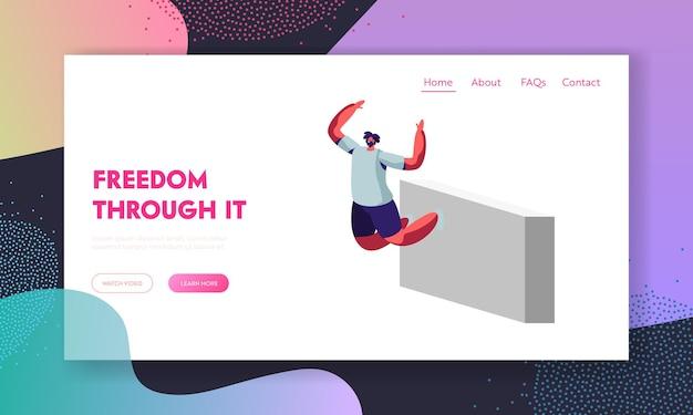 Parkour website landing page, junger mann springt über mauern