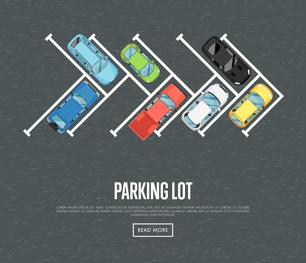 Parkplatz banner im flachen stil