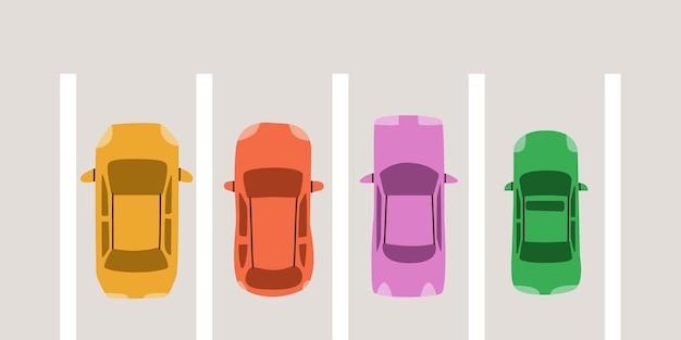 Parkplatz draufsicht. mehrfarbiges süßes fahrzeug. vektorelemente für das design.