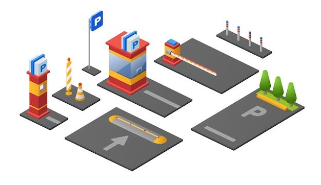 Parkplatzikonen des kontrollpunktkartenstandes oder der parkomat sperre