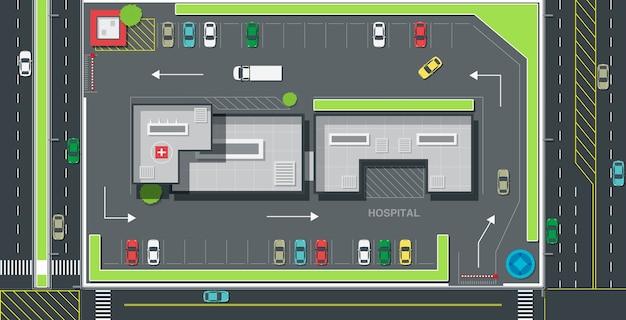 Parkplatzplan für verkehr und krankenhaussicherheit