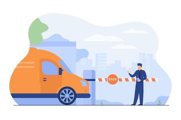 Parkplatzsicherheit. begleiter am torarm mit stoppschild zur überprüfung der fahrzeuge