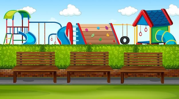 Parkszene mit spielplatz