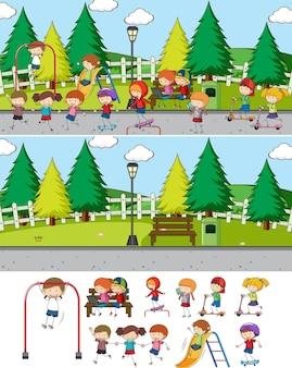 Parkszene mit vielen kinderzeichentrickfiguren