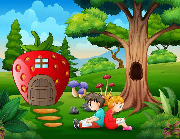 Parkszene mit zwei kindern, die ein buch vor dem erdbeerhaus lesen