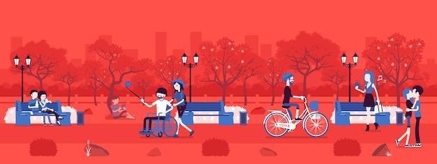 Parkzone im frühling oder sommer mit menschen