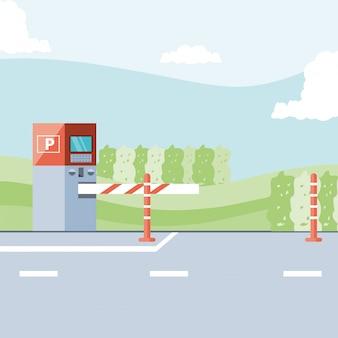 Parkzone mit ticketautomat und barrikadenszene