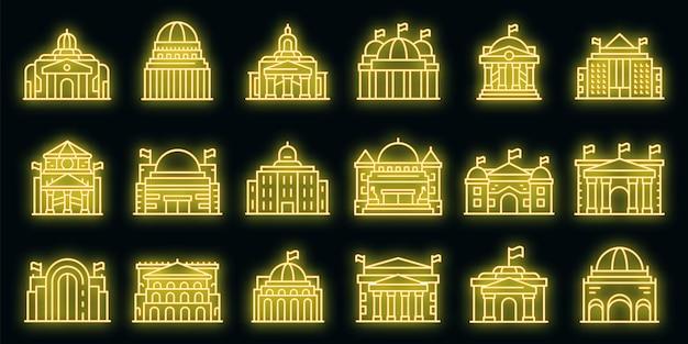 Parlamentsikonen eingestellt. umrisse von parlamentarischen vektorsymbolen neonfarbe auf schwarz