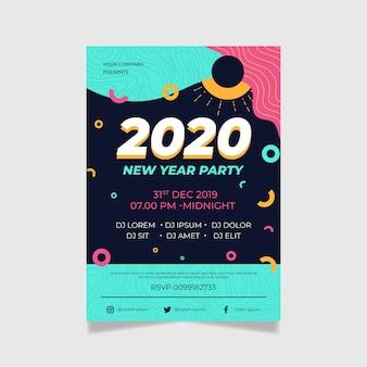 Partei des neuen jahres 2020 des flachen designfliegerschablonendesigns