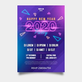 Partei-fliegerschablone des neuen jahres 2020 im flachen design