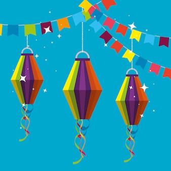 Parteifahne mit den laternen, die zum festa junina hängen