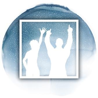 Parteipaare in einem weißen rahmen auf einer aquarellbeschaffenheit