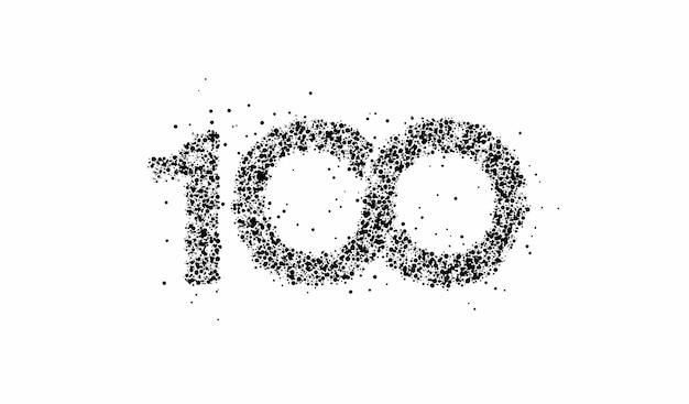 Partikel 100 hundert punkte textvektor vector design.