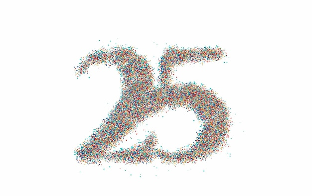 Partikel 25-punkt-text-vektor-vektor-design.