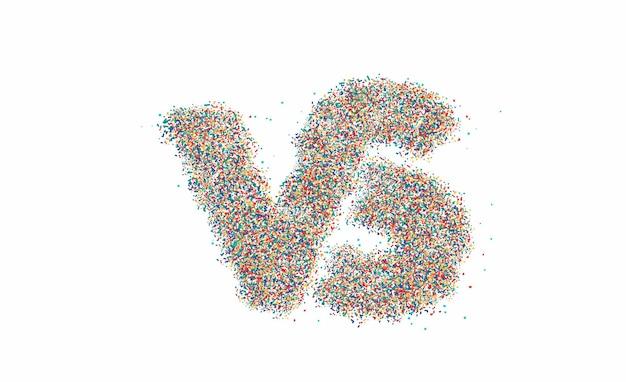 Partikel design vs unternehmen verbundenes brieflogo, strichzeichnungen-vektor-illustration.