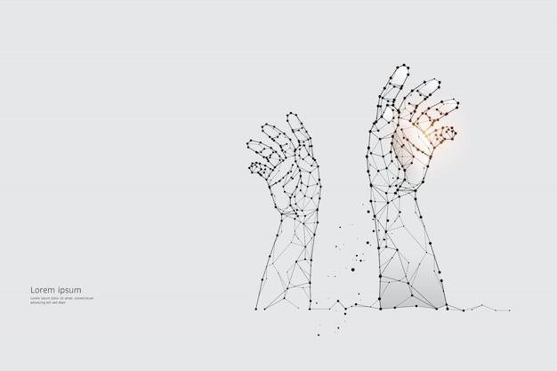 Partikel, geometrische kunst, linie und der punkt der hand.