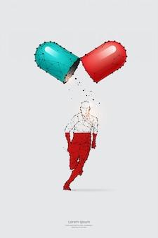 Partikel, geometrische kunst, linie und der punkt eines laufenden mannes