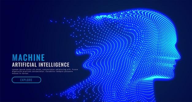 Partikelgesicht der digitalen künstlichen intelligenz