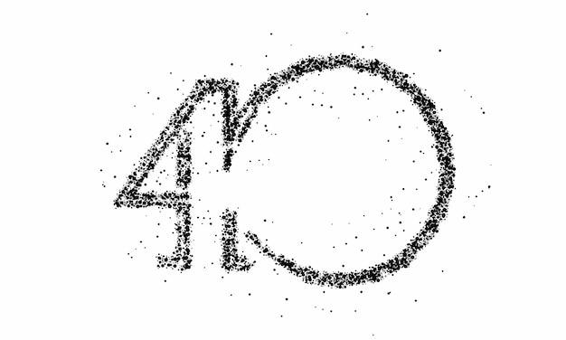 Partikelnummer 40 auf dem kreistextvektor vector design.