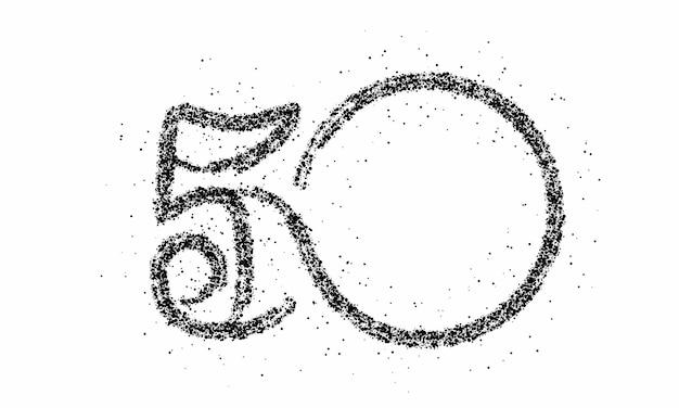 Partikelnummer 50 auf dem kreistextvektor vector design.