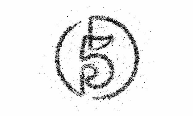 Partikelnummer fünf auf dem kreistextvektor vector design.