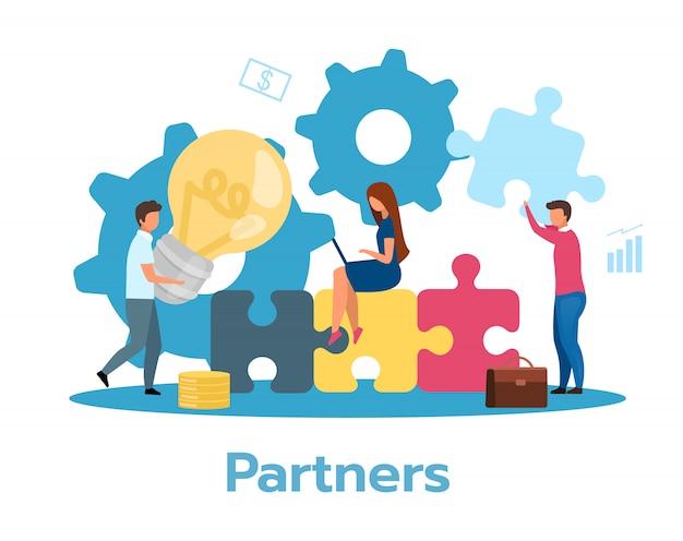 Partner flache illustration. partnerschaftskonzept. kooperation, kommunikation. teamwork-metapher. team brainstorming, idee suchen, lösung. geschäftsmodell. isolierte zeichentrickfigur auf weiß