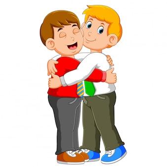 Partnergeschäftsmann in der formellen kleidung, die eine umarmung gibt