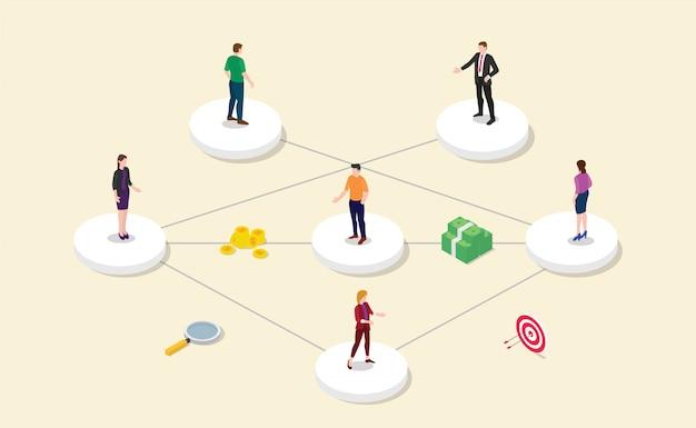 Partnerprogramm für empfehlungspartner mit teammitgliedern verbinden