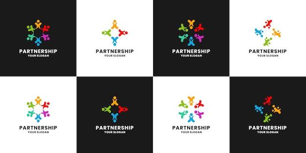 Partnerschaft, logodesign der familiengruppe für die menschliche gemeinschaft