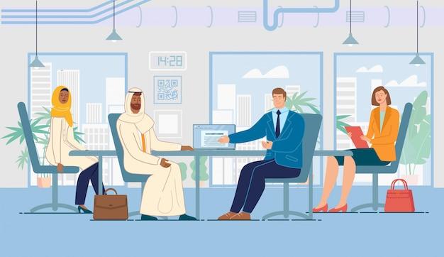Partnerschaft mit arabian businessman flat