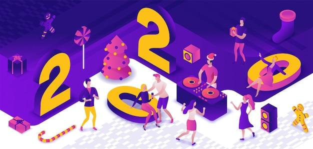 Party 3d des neuen jahres isometrisch