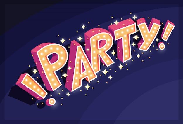 Party 3d schriftzug