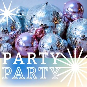 Party abstraktes memphis-vorlagenfoto zum anhängenden social-media-beitrag