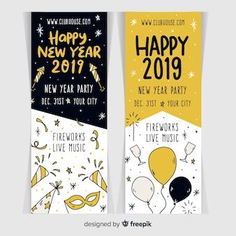 Party banner des neuen jahres 2019