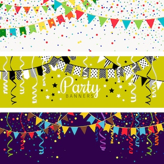 Party banner mit girlande aus farbfahnen und konfetti