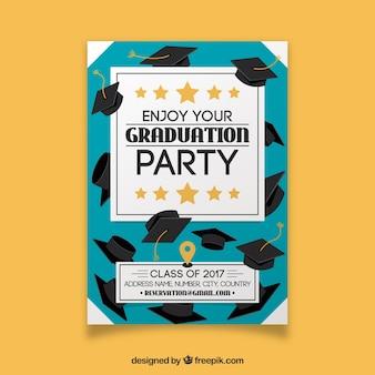 Party-broschüre mit abschlusskappen und goldenen sternen