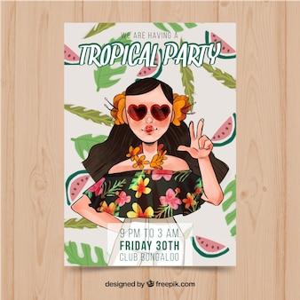 Party-broschüre mit illustration von mädchen in tropischen bluse