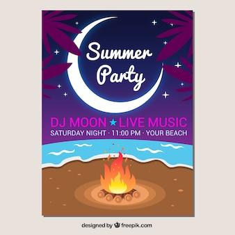 Party-broschüre mit lagerfeuer am strand