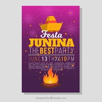 Party-broschüre mit lagerfeuer und hut