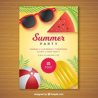Party-broschüre mit sommerelementen