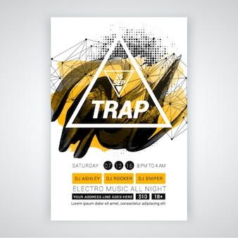 Party-broschüre mit weißen dreieck und abstrakten formen
