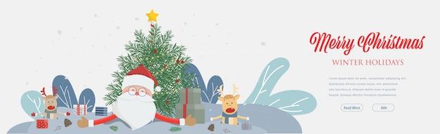 Party der frohen weihnachten und des guten rutsch ins neue jahr und tragender weihnachtsmann-hut. web landing page template für den winterurlaub.