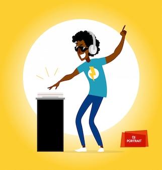 Party dj charakter. illustration.