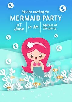Party einladungskartenschablone mit niedlicher kleiner meerjungfrau unter dem ozean.