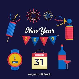 Party elemente des neuen jahres 2019