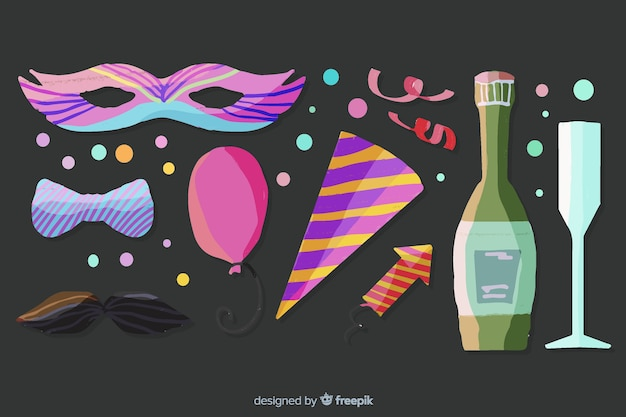 Party-elementsammlung des neuen jahres des aquarells